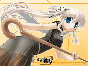Rating: Safe Score: 31 Tags: blue_eyes chinese_clothes chinese_dress long_hair mabinogi nao staff thighhighs twintails white_hair User: Oyashiro-sama