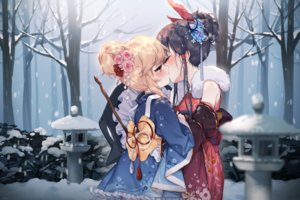 Rating: Safe Score: 100 Tags: 2girls black_hair blonde_hair flowers forest hajin hakurei_reimu hat japanese_clothes kimono kirisame_marisa kiss lolita_fashion orange_eyes ponytail short_hair shoujo_ai snow touhou tree winter witch witch_hat User: RyuZU