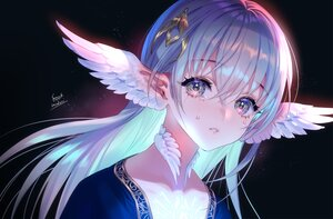 Rating: Safe Score: 70 Tags: aqua_hair choker close crying feathers foo_midori long_hair original pointed_ears signed tears wings User: otaku_emmy