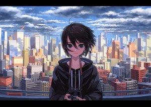 Rating: Safe Score: 55 Tags: black_eyes black_hair building camera city clouds dark hoodie original scenic short_hair sky window_(artist) User: otaku_emmy