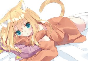 Rating: Safe Score: 29 Tags: animal_ears aqua_eyes bed blonde_hair blush catgirl cropped hamaru_(s5625t) long_hair original tail thighhighs zettai_ryouiki User: otaku_emmy