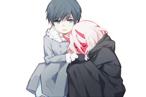 Rating: Safe Score: 36 Tags: aqua_eyes black_hair darling_in_the_franxx hiro_(darling_in_the_franxx) horns loli luozhou_pile male pink_hair short_hair white zero_two User: RyuZU