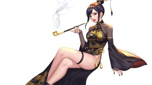 Rating: Safe Score: 44 Tags: black_eyes black_hair chinese_clothes chinese_dress garter leotard original see_through siun smoking watermark white User: otaku_emmy