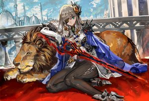 Rating: Safe Score: 143 Tags: animal blonde_hair blue_eyes boots cape elbow_gloves eyepatch lion long_hair original ran'ou_(tamago_no_kimi) sword weapon User: Flandre93