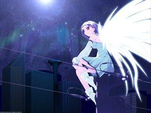 Rating: Safe Score: 12 Tags: angel dress night purple_hair red_eyes sky wings User: Oyashiro-sama