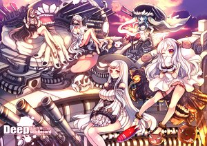 Rating: Safe Score: 72 Tags: anthropomorphism aqua_eyes aqua_hair barefoot battleship-symbiotic_hime black_hair bodysuit breasts cleavage dress eva200499 gloves group headdress horns kantai_collection long_hair midway_hime northern_ocean_hime orange_eyes panties seaport_hime underwear weapon white_hair wo-class_aircraft_carrier User: Flandre93