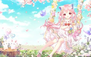Rating: Safe Score: 54 Tags: animal animal_ears bell bird bow bunny cat cherry_blossoms clouds dress flowers grass long_hair original pink_hair sky summer_dress tagme_(artist) twintails User: BattlequeenYume