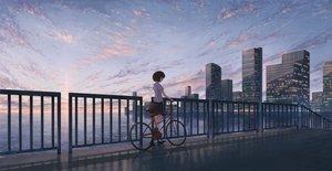 Rating: Safe Score: 54 Tags: bicycle brown_hair building city clouds kagumanikusu kneehighs original reflection seifuku short_hair skirt sky water User: RyuZU