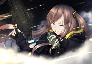 Rating: Safe Score: 36 Tags: anthropomorphism brown_hair girls_frontline gun long_hair scar shiroteru ump-45_(girls_frontline) weapon yellow_eyes User: luckyluna