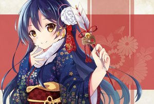Rating: Safe Score: 151 Tags: bell blue_hair brown_eyes japanese_clothes kimono long_hair love_live!_school_idol_project nonono_(nononotea) sonoda_umi User: Flandre93