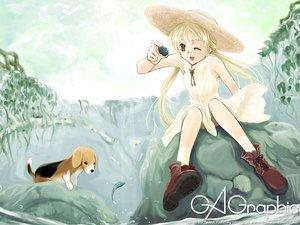 Rating: Safe Score: 3 Tags: blonde_hair gagraphic logo watermark wink yatsuki_junichirou User: Oyashiro-sama