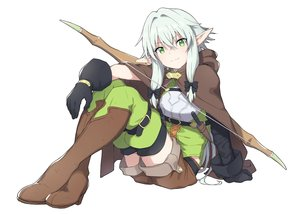 Rating: Safe Score: 93 Tags: boots bow_(weapon) cape gloves goblin_slayer! green_eyes green_hair high_elf_archer_(goblin_slayer!) hoodie knife laika_(sputnik2nd) pointed_ears thighhighs twintails weapon white zettai_ryouiki User: otaku_emmy