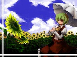 Rating: Safe Score: 10 Tags: brown_eyes clouds flowers green_hair kazami_yuuka short_hair sky sunflower touhou umbrella User: HawthorneKitty