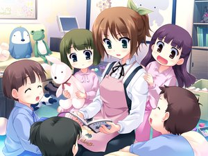Rating: Safe Score: 18 Tags: apron black_hair blush brown_eyes brown_hair computer game_cg green_eyes green_hair harukazedori_ni_tomarigi_wo_2nd_story kawakoshi_saeko purple_hair ribbons User: korokun