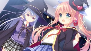 Rating: Safe Score: 35 Tags: 2girls aliasing blue_hair blush bow cape cosplay game_cg green_eyes hat kadomi_ibarako long_hair nagayama_yuunon navel_(company) pink_hair red_eyes ribbons seifuku shirokane_mizuki skirt spiral!! tanihara_natsuki twintails wand witch witch_hat User: RyuZU