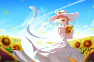 Rating: Safe Score: 59 Tags: blonde_hair clouds dress flowers hat original pani_(wpgns9536) short_hair sky summer summer_dress sunflower User: BattlequeenYume
