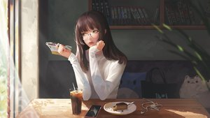 Rating: Safe Score: 47 Tags: book brown_hair cake drink food glasses green_eyes g-tz headphones long_hair original phone realistic signed User: BattlequeenYume
