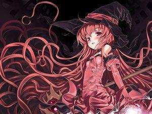 Rating: Safe Score: 23 Tags: blush cierra dress hat long_hair red_eyes red_hair riviera staff witch User: Oyashiro-sama