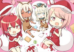 Rating: Safe Score: 20 Tags: anthropomorphism bell blonde_hair blue_eyes boots cape chibi christmas dark_skin dress engiyoshi gloves hat headband horns i-168_(kancolle) i-58_(kancolle) kantai_collection long_hair pink_eyes pink_hair ponytail red_eyes red_hair ro-500_(kancolle) santa_costume santa_hat short_hair u-511_(kancolle) waifu2x wink User: otaku_emmy