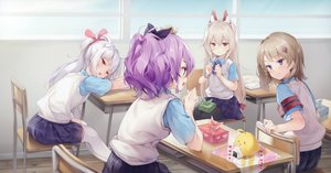 Rating: Safe Score: 76 Tags: anthropomorphism ayanami_(azur_lane) azur_lane brown_hair cropped food green_eyes group javelin_(azur_lane) laffey_(azur_lane) long_hair manjuu_(azur_lane) pantyhose ponytail purple_eyes purple_hair red_eyes scan school_uniform senji_(tegone_spike) short_hair thighhighs twintails z23_(azur_lane) User: Nepcoheart