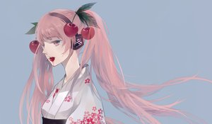 Rating: Safe Score: 48 Tags: cherry close food fruit hatsune_miku headphones japanese_clothes pink_hair sakura_miku twintails vocaloid yu_(kongxiang) User: HawthorneKitty