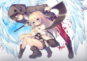 Rating: Safe Score: 48 Tags: aqua_eyes bandage blonde_hair blood boots brown_hair choker hoodie isaac_foster long_hair male rachel_gardner satsuriku_no_tenshi scythe short_hair shorts utm weapon yellow_eyes User: otaku_emmy