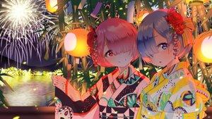 Rating: Safe Score: 87 Tags: 2girls blue_eyes blue_hair building city festival fireworks headdress japanese_clothes matsukawa_li night pink_eyes pink_hair ram_(re:zero) rem_(re:zero) re:zero_kara_hajimeru_isekai_seikatsu short_hair sky tree twins water yukata User: RyuZU
