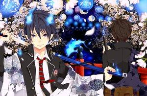 Rating: Safe Score: 65 Tags: ao_no_exorcist blue_eyes flowers gun japanese_clothes katana okumura_rin okumura_yukio pointed_ears sword tie utaoka_(23com) weapon User: opai
