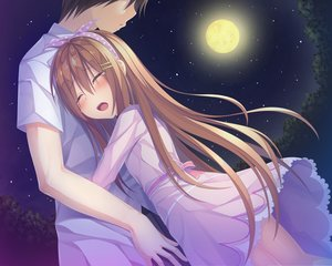 Rating: Safe Score: 30 Tags: brown_hair crying hug long_hair male moon night original short_hair tagme_(artist) tears User: luckyluna