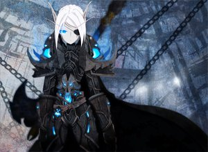 Rating: Safe Score: 278 Tags: armor auer blue_eyes chain eyepatch pointed_ears white_hair world_of_warcraft User: Brynhild