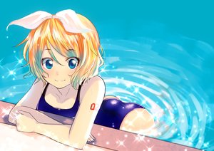 Rating: Safe Score: 29 Tags: asanome_(noboes) blonde_hair blue_eyes kagamine_rin swimsuit vocaloid water User: humanpinka