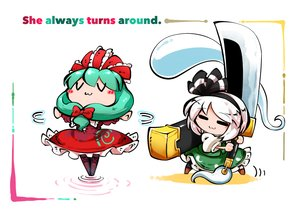 Rating: Safe Score: 8 Tags: 2girls boots bow cat_smile dress green_hair headband kagiyama_hina kashuu_(b-q) konpaku_youmu long_hair myon short_hair skirt sword touhou weapon white_hair User: otaku_emmy