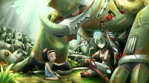 Rating: Safe Score: 60 Tags: 2girls black_hair blue_eyes flowers grass original puretails robot User: SonicBlue