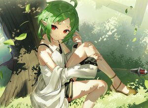 Rating: Safe Score: 54 Tags: grass green_hair leaves mushoku_tensei pointed_ears red_eyes short_hair shorts staff sukocchi sylphiette_(mushoku_tensei) tree User: BattlequeenYume