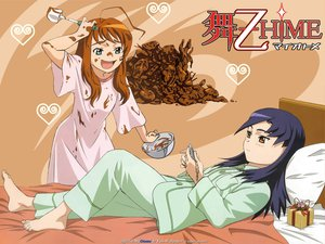 Rating: Safe Score: 8 Tags: 2girls bed mai-otome nina_wang pajamas yumemiya_arika User: Oyashiro-sama