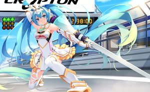 Rating: Safe Score: 184 Tags: aqua_hair boots choker elbow_gloves ello-chan hatsune_miku long_hair skirt thighhighs tiara twintails vocaloid weapon User: Flandre93