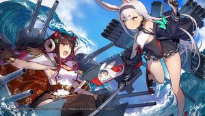Rating: Safe Score: 27 Tags: 2girls animal_ears anthropomorphism azur_lane brown_hair bunny_ears compile_heart gloves horns long_hair mephist-pheles purple_eyes shimakaze_(azur_lane) suruga_(azur_lane) sword thighhighs uniform water weapon white_hair yellow_eyes User: Nepcoheart