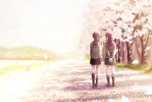 Rating: Safe Score: 61 Tags: 2girls anthropomorphism brown_hair cherry_blossoms flowers grass kantai_collection kitakami_(kancolle) kneehighs ooi_(kancolle) papi_(papiron100) petals school_uniform User: luckyluna