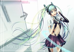 Rating: Safe Score: 130 Tags: aqua_hair blue_eyes collar gloves hatsune_miku headphones long_hair navel oki_(koi0koi) skirt twintails vocaloid watermark User: FormX