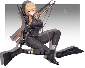 Rating: Safe Score: 105 Tags: 5555_96 aliasing blonde_hair bodysuit breast_hold breasts gradient gun knife long_hair necklace original purple_eyes signed skintight weapon wet User: otaku_emmy