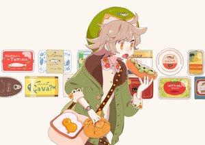 Rating: Safe Score: 20 Tags: brown_hair cropped food hat hoodie orange_eyes original short_hair sorata123 wristwear User: otaku_emmy
