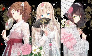 Rating: Safe Score: 96 Tags: aqua_eyes blonde_hair bow brown_hair chinese_clothes choker fan flowers green_eyes hakusai headdress japanese_clothes kimono long_hair original pink_eyes ponytail ribbons twintails umbrella User: otaku_emmy