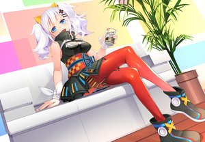 Rating: Safe Score: 64 Tags: aqua_eyes bandage blush bow breasts cleavage couch dress drink japanese_clothes kaguya_luna long_hair pantyhose ribbons shiro_ami skirt the_moon_studio twintails white_hair wristwear User: BattlequeenYume