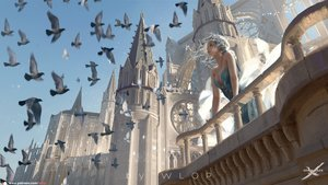 Rating: Safe Score: 82 Tags: animal bird breasts building cleavage dress ghostblade gray_hair logo princess_yan realistic scenic watermark wlop User: SciFi