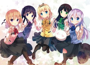 Rating: Safe Score: 38 Tags: aqua_eyes black_hair blonde_hair blue_hair blush bow chinomaron gochuumon_wa_usagi_desu_ka? green_eyes group hoto_cocoa kafuu_chino kirima_sharo kneehighs long_hair pantyhose pink_hair purple_eyes ribbons short_hair skirt tedeza_rize tippy_(gochiusa) ujimatsu_chiya User: RyuZU
