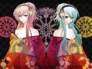 Rating: Safe Score: 36 Tags: akatsuki_yakyou hatsune_miku japanese_clothes kimono megurine_luka vocaloid User: HawthorneKitty