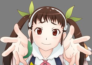 Rating: Safe Score: 45 Tags: bakemonogatari brown_eyes brown_hair hachikuji_mayoi headband loli long_hair monogatari_(series) transparent twintails vector User: RyuZU