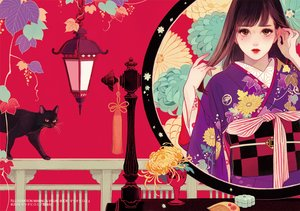 Rating: Safe Score: 32 Tags: animal cat japanese_clothes kimono long_hair matsuo_hiromi original User: FormX