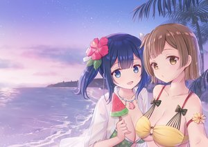 Rating: Safe Score: 50 Tags: 2girls anthropomorphism beach blue_eyes blue_hair brown_eyes brown_hair clouds emia_wang food hiryuu_(kancolle) kantai_collection long_hair necklace popsicle short_hair sky souryuu_(kancolle) tree twintails water User: BattlequeenYume