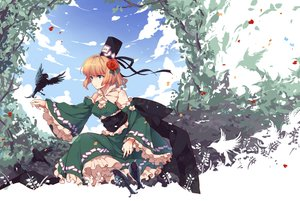 Rating: Safe Score: 78 Tags: animal bird blonde_hair breasts cleavage clouds green_eyes hat sky soga_no_tojiko touhou tree yetworldview_kaze User: Flandre93